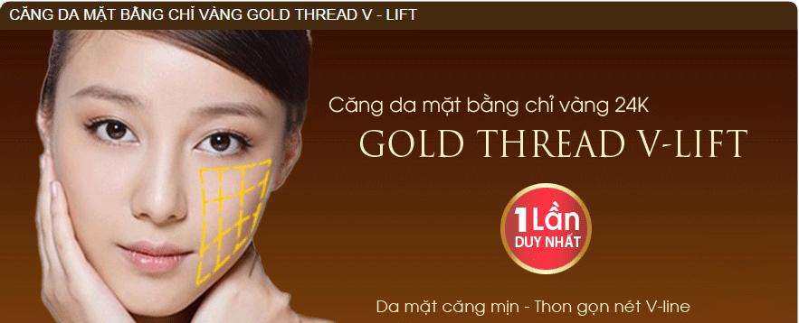 CĂNG DA MẶT BẰNG CHỈ VÀNG 24K GOLD THREAD V-LIFT